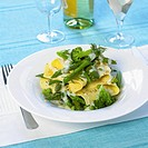 Lasagne sheets with green vegetables and hollandaise sauce