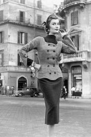 tailleur di tweed di lana, 1953