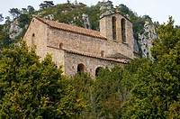 Romanesque Sanctuary of Montgrony (9th to 17th Century) near Gombrèn. Ripollès region. Girona province. Catalonia. Spain.