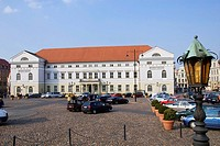 Town, hall, and, market, square, Wismar, Mecklenburg-Western, Pommerania, Germany, city, hall,