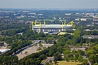 Signal, Iduna, Park, former, Westfalenstadion, view, from, Florian, tower, Dortmund, North-Rhine, Westphalia, Germany, football, stadium, soccer, stad...