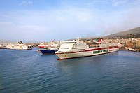 Ferryboats, in, harbour, of, Patras, Achaia, Peloponnese, Greece