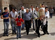 Jews, celebrating, Bar, Mitzva, at, the, Western, Wall, old, part, of, Jerusalem, Israel