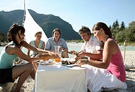 Men, women, river, shore, table, picnic,