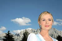 Woman, Dirndl, mountains, heaven, clouds,