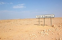 Tropic Of Capricorn Sign in Desert  Ganab District, Namibia, Southern Africa