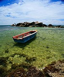 Empty Boat in Clear Waters  Seychelles, Indian Ocean