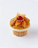 Gingerbread muffin decorated with silver dragées & glacé cherry