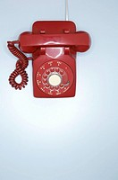 Red rotary phone