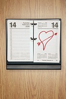 Heart shape on desk calendar