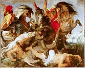 fine arts - Rubens, Peter Paul 1577 - 1640, painting, Hippopotamus and Crocodile Hunt, circa 1615 / 1616, oil on canvas, Alte Pinakothek, Munich, baro...