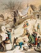 Ü Kunst, Schmelzer, Johann Bernhard  Ölfarben Druck Winterlust 1875 winter, schlitten, schlittenfahrt schneemann bauen bauend, kind, kinder freude, wi...