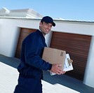 Delivery person with package motion blur