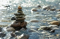 Rocks stacked in a river