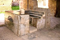 Roman tavern  This Thermopolium was a 3rd century tavern that sold hot drinks and food to the inhabitants of Ostia Antica, an ancient Roman seaport bu...