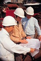 Industry, Construction, Engineers viewing plans,
