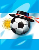 Argentinian flag with soccer ball and hat
