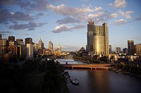 Australia, Melbourne, River Yarra, city skyline, sunset