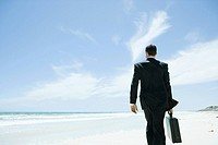 Businessman walking across beach, carrying briefcase, rear view