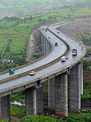 A very tall valley bridge, national Pune_Banglore highway in curved form. Pune, Maharashtra, India