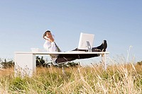 Businessman at desk in field
