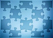 Light and dark blue jigsaw pieces in alternating pattern Composite