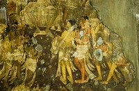 Close-up of a mural in a cave, Ajanta, Maharashtra, India