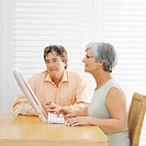 Close-up of a mature couple working on computer
