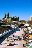 Ice skating along the Rideau Canal, Ottawa, Canada
