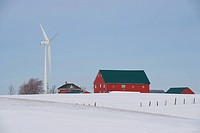 Wind turbines, Farm, barn, Bruce Energy Center, Ontario, Canada