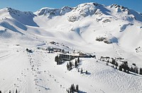 aerial of roundhouse lodge, whistler mountain, british columbia, Canada