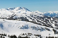 aerial of blackcomb mountain foreground and whistler mountain in background, british columbia, Canada