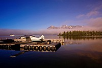 View of Atlin Lake from along the docks in Atlin, British Columbia, Canada
