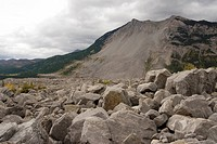 At least 70 people were killed in 1903 by the frank slide, near turtle mountain in crowsnest pass, southern rocky mountains, alberta, canada