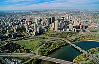 aeirial of the north saskatchewan river and Edmonton, alberta, Canada