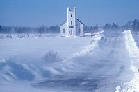 New Dominion church in winter, Prince Edward Island, Canada