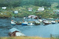 Fishing boats in rain through rain covered window, Newfoundland, Canada