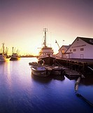 Sunset at the home of the largest commericial fleet in Canada, Steveston Harbour, Richmond, British Columbia, Canada
