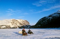 Snowmobiling, Gros Morne National Park, Newfoundland, Canada