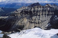 Looking down to the Stanley Glacier from up on Mt Stanley Kootney National Park, Alberta, Canada