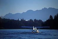 Pacific Rim, Cessna 185 floatplane , Tofino Harbour, Vancouver Island, British Columbia, Canada
