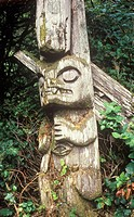 First Nations culture, Nuu-chah-nulth pole in abondoned village : Checleset Islands, British Columbia, Canada