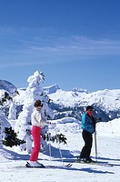 Mount Washington ski resort  Skiers at Mt Albert Edward overlook, Vancouver Island, British Columbia, Canada