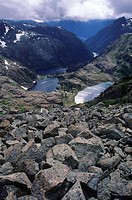 Strathcona Provincial Park, scree pile above Faith, Hope and Charity Lakes, Vancouver Island, British Columbia, Canada