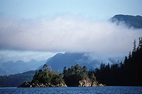 Nootka Sound, near Friendly Cove, layered cloud over islands, Vancouver Island, British Columbia, Canada