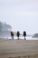 Pacific Rim National Park, West Coast Trail hikers, Vancouver Island, British Columbia, Canada