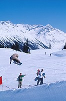 snowboarder in half pipe competition, Whistler, British Columbia, Canada