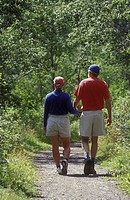 Couple on a walk at 108 Mile Ranch, British Columbia, Canada