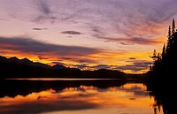 Mayfair Lakes at sunset, Muskwa Kechika Wilderness, Northern Rockies, British Columbia, Canada