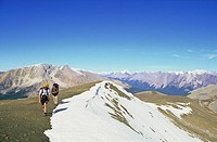 Backpacking through late summer snow in the BC Rockies, British Columbia, Canada